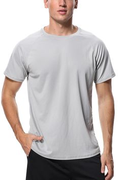 684c875898 Men s UPF 50+ Short-Sleeve Rashguard Swim Shirt Quick-Dry Athletic Top -