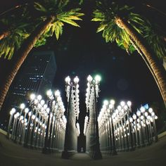 Chris Burden's 'Urban Light' on display at the Los Angeles County Museum of Art. Photo courtesy of kirstenalana on Instagram.
