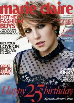 Lena Dunham covers the October 2013 issue of Marie Claire UK