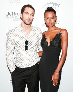 Tobias Sorensen and Jasmine Tookes at Jeffrey Fashion Cares 2015. See what celebs hit this party scene this spring and what they wore.