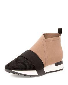 BALENCIAGA Elastic & Mesh High-Top Sneaker, Noir/Taupe. #balenciaga #shoes #