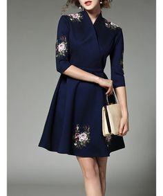 Navy cotton blend floral wrap dress Sale - YYFS Sale