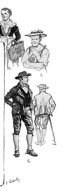 """Trachten aus dem Wolf-  und Kinzigtal  (""""Fürstenberger Tracht"""") 2 Bauer im Schope und     niederen Schuhen 3 Frau im Feldarbeitskleid #Schapbach"""