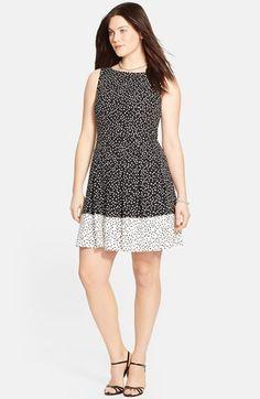 Plus Size Women's Lauren Ralph Lauren Colorblock Dot Print Sleeveless Fit & Flare Dress