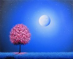 Cherry Blossom Tree Art Print, Whimsical Pink Tree at Night, Photo Print of Oil Painting, Affordable Art Gift, Blue Night Sky, Dreamscape by BingArt on Etsy
