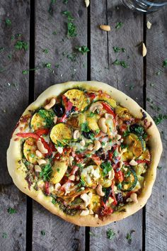 Moroccan Roasted Garlic Pesto and Cashew Pizza | halfbakedharvest.com