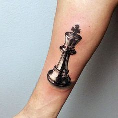Male With Realistic 3d King Chess Piece Inner Forearm Tattoo Design