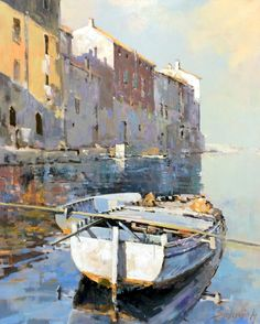 Branko Dimitrijevic, Boat in Rovinj, Oil on canvas, Landscape Art, Landscape Paintings, Boat Art, Boat Painting, Impressionist Paintings, Art Abstrait, Acrylic Art, Beautiful Paintings, Art Oil