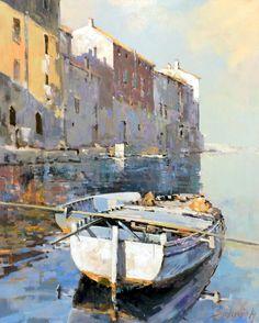 Branko Dimitrijevic, Boat in Rovinj, Oil on canvas, 95x75cm, £1650