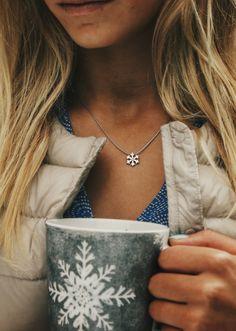 Girls of Winter wear Snowflakes! #bluetomato #silversurf #necklace #jewelery #dainty #winter #winterstyle #snowflake #swarovski #giftideas #christmas #giftsforgirls #christmasgifts #snow #streetystyle
