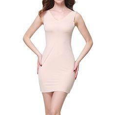 SJINC Women's Full Slip Short Seamless V Neck Stretch Semi-Sheer Sleepwear Dress //Price: $15.99 & FREE Shipping //     #onsale #lingeriemodel #glamourmodel #sexylingerie #beautylingerie #corset #beautygirls
