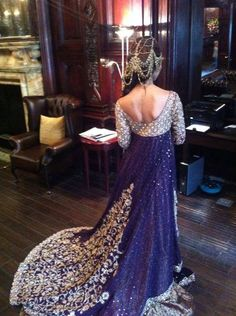Stunning royal purple lengha with trail! wow ok wow