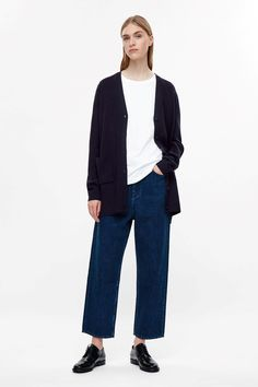 COS image 6 of Wool knit cardigan in Navy Blue