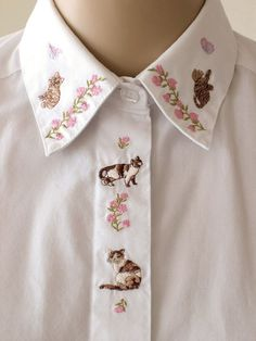 Embroidered Cat Collar Shirt Floral Embroidery White Blouse Oxford Shirt Cat Top Fly Front Size Kitsch Cute Tabby Cat Calico Cat XS to Small...