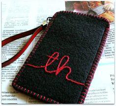 Huopa-applikointia ja kirjontaa Felting, Zip Around Wallet, Knitting, Handmade, Bags, Clutch Bags, Handbags, Hand Made, Felt Fabric