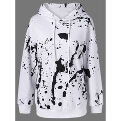 Splatter Paint Pullover Hoodie ($22) ❤ liked on Polyvore featuring tops, hoodies, sweater pullover, sweatshirt hoodies, hooded sweatshirt, hoodie pullover and pullover hoodies