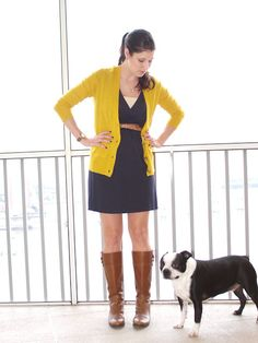 navy and mustard outfit with brown boots and belt (Idle Banter)