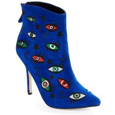 Isa Tapia Women's Juliette Embroidered Suede Point-Toe Booties ($220) ❤ liked on Polyvore featuring shoes, boots, ankle booties, blue multi, pointed toe ankle booties, embroidered boots, pointy toe booties, blue suede booties and suede ankle booties