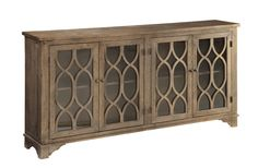"""Features:  -Glass panel doors.  -Decorative fretwork.  -Cord management.  -Adjustable shelves.  -No of doors: 4.  -Country/Cottage style.  TV Size Accommodated: -60"""".  Product Type: -TV Stand.  Design"""