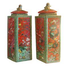 Pair of Vintage   Chinoiserie Lozenge Jars