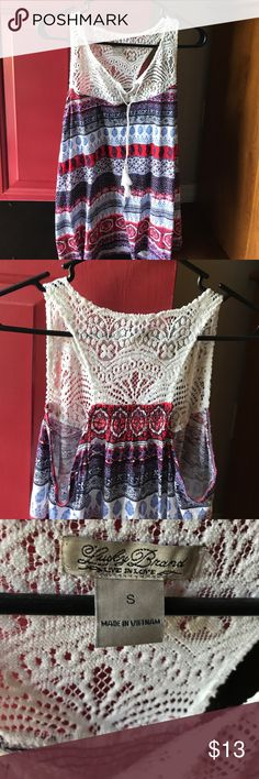 Lucky Brand shirt Crochet top with ties in front. It's a light weight cotton in shades of dark and light blue with red and white Lucky Brand Tops Tunics