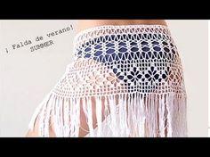 Crochet beach fringed skirt PATTERN PDF crochet cover up boho skirt Crochet Beach Dress, Bikinis Crochet, Black Crochet Dress, Crochet Skirts, Crochet Clothes, Crochet Patterns Filet, Filet Crochet, Hand Crochet, Crochet Top