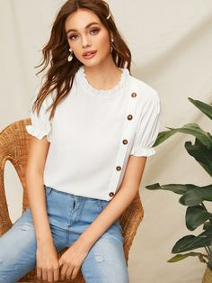 Button Decoration Frill Trim Blouse – Outfit Inspiration & Ideas for All Occasions Blouse Styles, Blouse Designs, Button Decorations, Blouse Outfit, White Style, No Frills, Fashion News, Clothes For Women, Womens Fashion