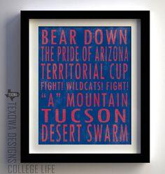University of Arizona Wildcats Subway Scroll Art Print. $25.00, via Etsy.