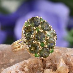 Bohemian Moldavite, Russian Diopside, and White Topaz 14K Yellow Gold Over Sterling Silver Ring
