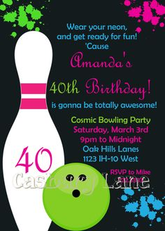 Printable Invitation-NEW Cosmic Bowling Collection-Little Birdie Notes. $12.00, via Etsy.