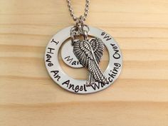 Hand Stamped Washer In Memory Of Necklace With Remembrance Jewelry with Your Angels Name Personalized For You Loss of Loved One $25.75