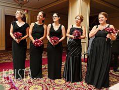 Black Bridesmaid Dresses - All different.  Wedding at The Taj Boston by Krista Photography www.kristaphoto.com
