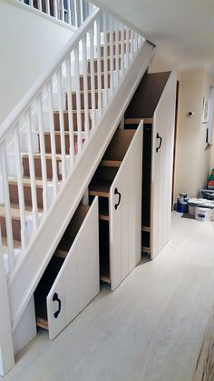 We like this one! Want a way to use that precious but underused space under the stairs? We had some clients before Christmas that wanted just that. They could see that there had to be a way rather than just adding a small desk and a couple of shelves that would just gather dust and be useless in the long ... Read More Shelves Under Stairs, Space Under Stairs, Stair Shelves, Staircase Storage, Under Stairs Cupboard, Under The Stairs, Staircase In Living Room, House Stairs, Under Stairs Storage Solutions