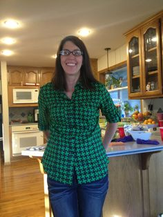My friend Summer in a bright houndstooth blouse!