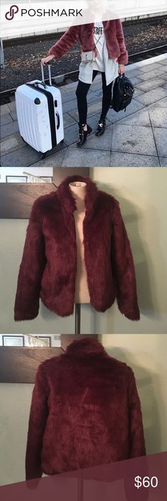 🔥ONE DAY SALE🔥Fur Jacket F21 Exclusive. I got compliments each time I wore this. In excellent condition. Love it but I need to clean my closet. Size is P, will also fit a S. Burgundy color. Forever 21 Jackets & Coats