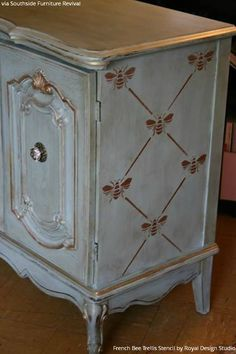Vintage Boho Style Painted Dresser with French Bee Trellis Stencils - Royal Design Studio