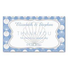 Light Blue Clamshells Beach Wedding Favor Tags Business Cards