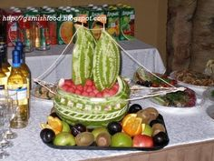 Fruit Carving Arrangements and Food Garnishes: Sea Theme Wedding Party, Olympia Park, August 2009 Creative Cakes, Creative Food, Pirate Ship Watermelon, Watermelon Basket, Fruit Buffet, Watermelon Carving, Carved Watermelon, Graduation Food, Fruit Creations
