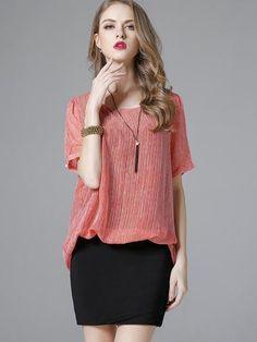 Sexy Pretty Popular Round Neck Short Sleeve Stripe Chiffon Blouses&shirts Tops