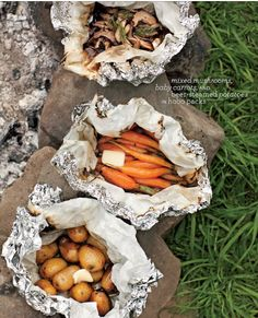 Tara Donne photography {taradonne.com} Camping food :) parchment paper inside the foil as a barrier.