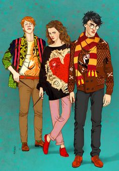 Hipster Harry Potter characters. Haha not gonna lie.. I kinda dig this illustration :)