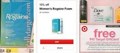 Target: $0.97 for Sure Deodorant PLUS just $6.54 Women's Rogaine Foam (originally $42.99) with $10 Gift card, Cartwheel, coupon, and Mail-In-Rebate! - http://www.couponaholic.net/2015/05/target-0-97-for-sure-deodorant-plus-just-6-54-womens-rogaine-foam-originally-42-99-with-10-gift-card-cartwheel-coupon-and-mail-in-rebate/