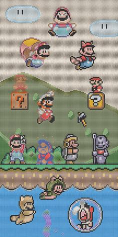 Mario Cross Stitch. If I ever attempt this, it will prove exactly how much I love my son.