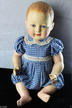 BARBOTEUSE IDEAL BAIGNEUR ANCIEN 50/52CM CELLULOÏD SNF POUPEE RAYNAL DOLL ROMPER