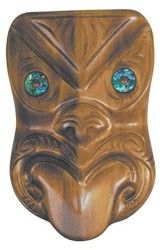 This beautifully carved wood New Zealand Maori Koruru Mask has been made from a native timber called Matai, with Paua shell (abalone) eyes. The mask is. Paua Shell, Abalone Shell, Wood Stone, New Zealand, Lion Sculpture, Things To Come, Carving, Statue, Medium