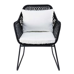 Garden armchair in black resin wicker with white cushions - Cuzco Garden Chairs, Patio Chairs, Outdoor Chairs, Dining Chairs, Outdoor Decor, Metal Furniture, Garden Furniture, Outdoor Furniture, White Cushions