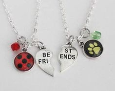 Ladybug Chat Noir BFF Necklace Set Friendship Jewelry Miraculous Ladybug Cat Noir Jewelry Superhero Girl Marinette Cheng Adrien Agreste