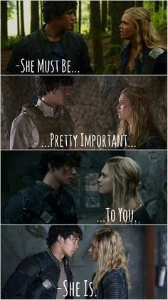"""""""She is"""", and that's when my heart stopped The 100 Cast, The 100 Show, It Cast, Series Movies, Movies And Tv Shows, Tv Series, Bellarke, Bellamy The 100, The 100 Quotes"""