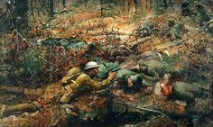 The Bravery of Alvin C. York. painted by Frank Schoonover in 1919 On October 8, 1918, Sgt. Alvin C. York, United States 328th Infantry, with the aid of 7 men, killed 28 German soldiers and captured 132 prisoners in the Argonne Forest, near Cornay, France