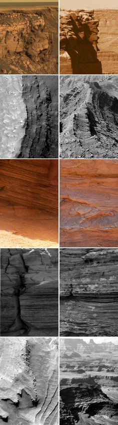 Can you tell which is Earth and which is Mars? On the left, images from the Red Planet as captured by the Opportunity rover and the Mars Reconnaissance Orbiter. On the right, locations of roughly the same scale in and around Canyonlands National Park, Utah. Details at the link. Solar Energy System, Our Solar System, Galaxy Wonder, Egyptian Names, Solar Panel Cost, Canyonlands National Park, Red Planet, Alien Worlds, Other Space